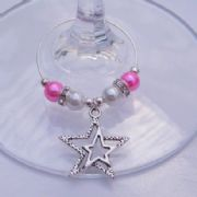 Detailed Double Star Outline Wine Glass Charm - Elegance Style